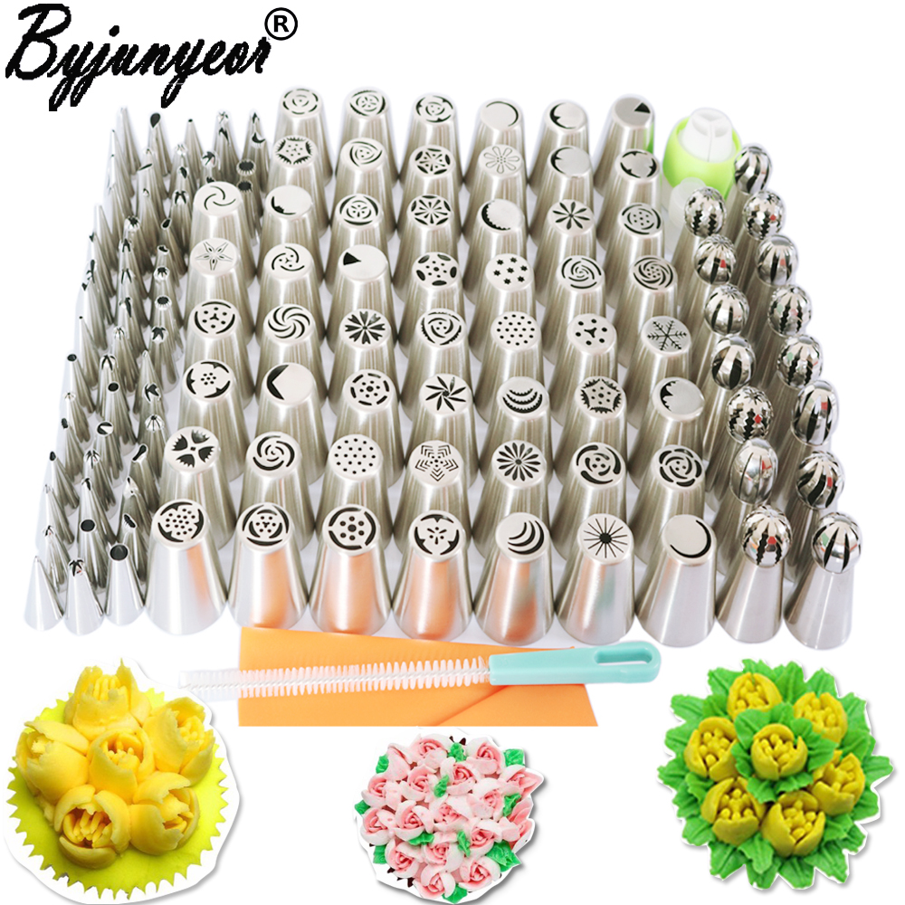 129PCS Stainless Steel Nozzles Pastry Set Icing Piping Nozzle Cake Decorating Tips Wedding Birthday Party Cake
