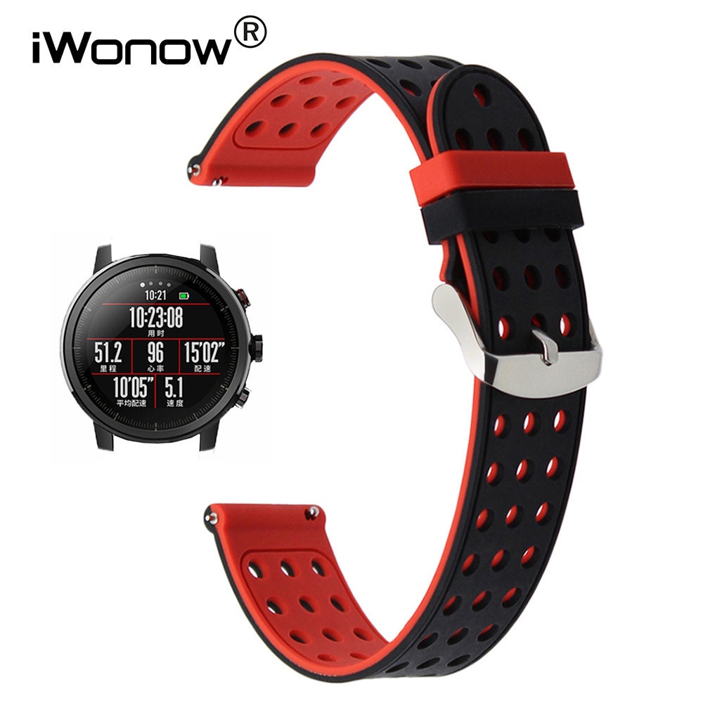 Double Color Silicone Rubber Watchband 20mm 22mm for Xiaomi Huami Amazfit 1 2 2S Quick Release Watch Band Steel Clasp Belt Strap jansin 22mm watchband for garmin fenix 5 easy fit silicone replacement band sports silicone wristband for forerunner 935 gps