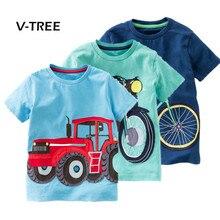 V-TREE, летняя футболка для маленьких мальчиков, хлопковая футболка с короткими рукавами, футболки для мальчиков, детские топы, одежда для малышей 2-8 лет