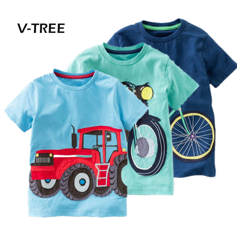 V-TREE Summer Baby Boys T Shirt Cotton Short Sleeve T Shirt Tops Tees For Boy Kids Tops Baby Children Clothes 2-8 Year b a1785 new fashion 3 13t kids baby girls clothes set summer children short sleeve t shirt tops skirt 2pcs kids outfit suit