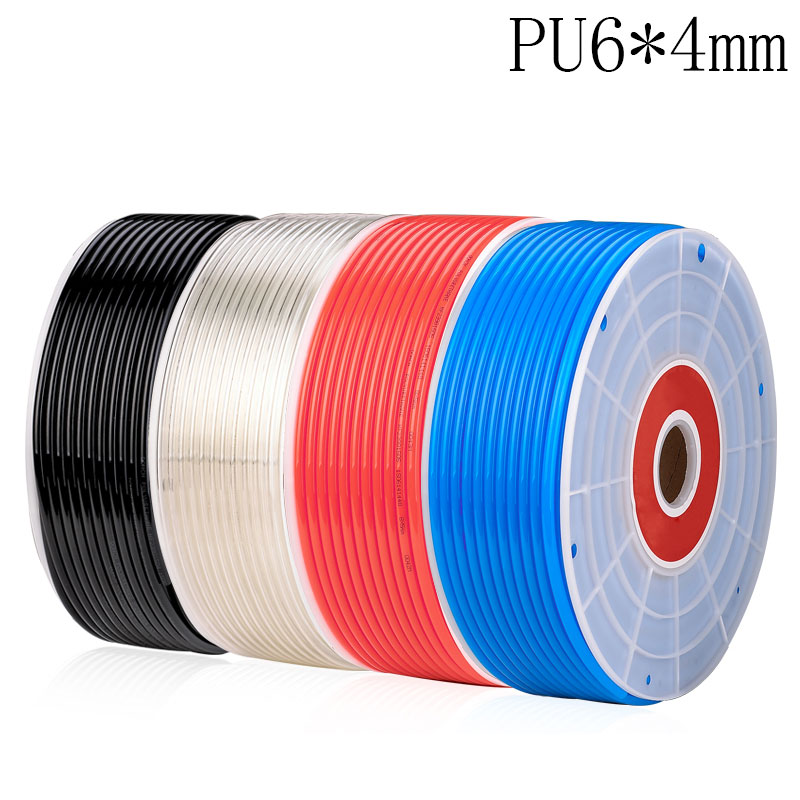 Free shipping PU Pipe 6*4mm for air & water 10M/lot Pneumatic parts pneumatic hose ID 4mm OD 6mm water valve connector sucking pipe of filling machine water drawing hose pvc pipe steel spring inside food safe od 40mm 2m