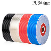 Free shipping PU Pipe 6*4mm for air & water 10M/lot Pneumatic parts pneumatic hose ID 4mm OD 6mm