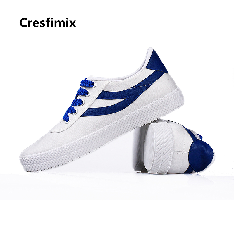 Cresfimix women casual white canvas shoes with striped lady leisure spring autumn lace up shoes female cool comfortable shoes e toy word canvas shoes women han edition 2017 spring cowboy increased thick soles casual shoes female side zip jeans blue 35 40