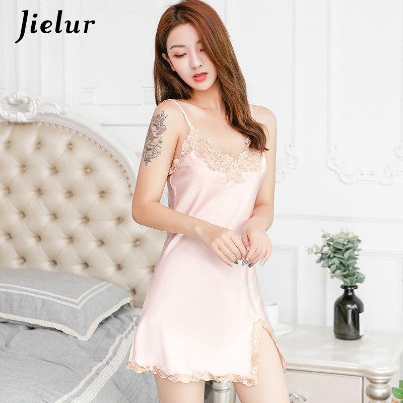 Jielur Sexy Silk   Nightgowns   Sleeveless Lace Patchwork Summer Women   Sleepshirts   Charming Lingerie Lady Nightdress M-XL Dropship