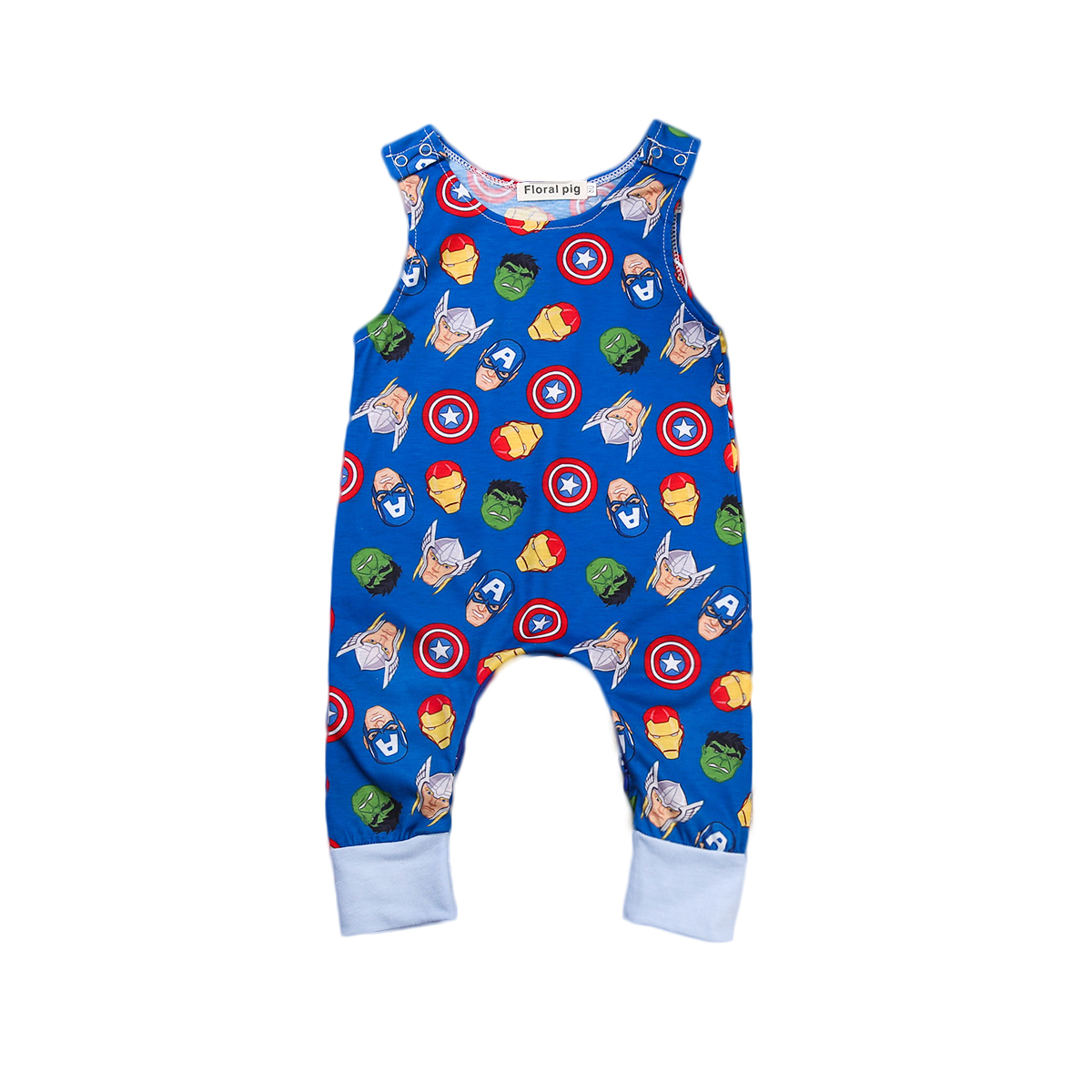 2017 Summer Newborn Baby Boy Girl Sleeveless Carton Pattern Romper Jumpsuit One Pieces Cotton ...