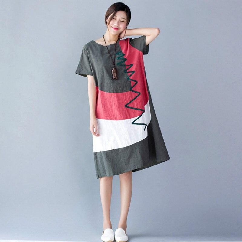 2017 Plus Size Pregnancy Dresses Summer Cotton Linen Striped Dress