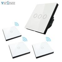 Vhome EU UK Smart Home 3gang Wall Light Touch Switch Crystal Glass Panel 3x RF 433mhz
