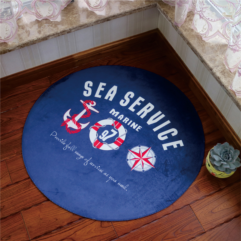 Mediterranean Style Round Floor Mat Carpet Computer Chair Mat Pad Bedroom  Living Room Anti Slip