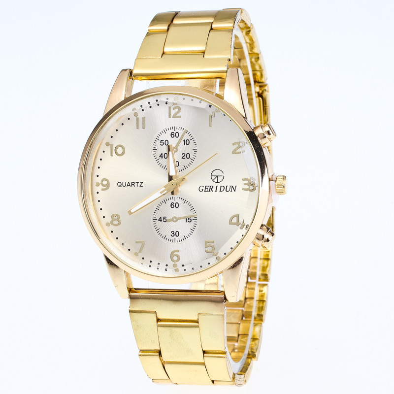 Gold Watch Stainless Steel Quartz Watches Military Wristwatch  Time