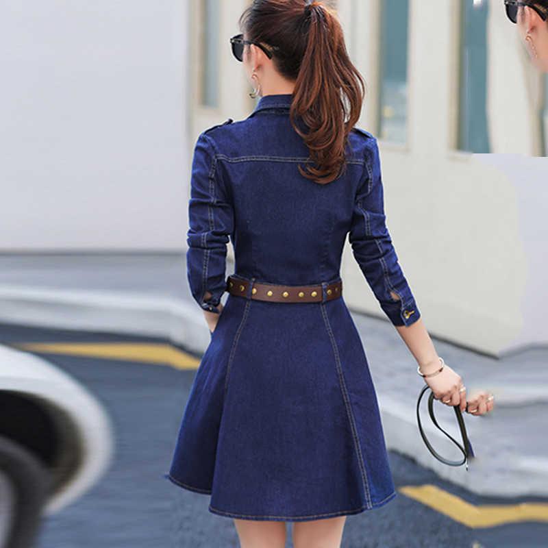 Весенние джинсовые женские платья с длинными рукавами 2019 модные эластичные джинсы с высокой талией с карманом на поясе тонкие женские джинсовые платья HS395