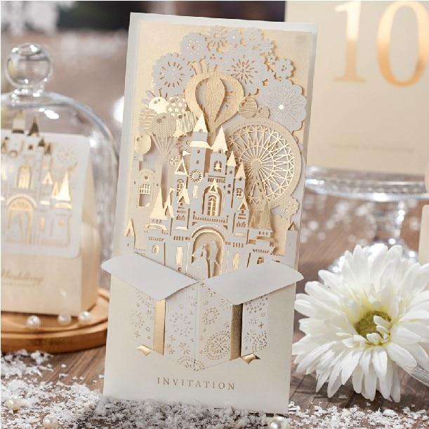 High class gold champagne laser cut wedding invitation cards 3d high class gold champagne laser cut wedding invitation cards 3d castle gatefold invites bridal shower invitations filmwisefo