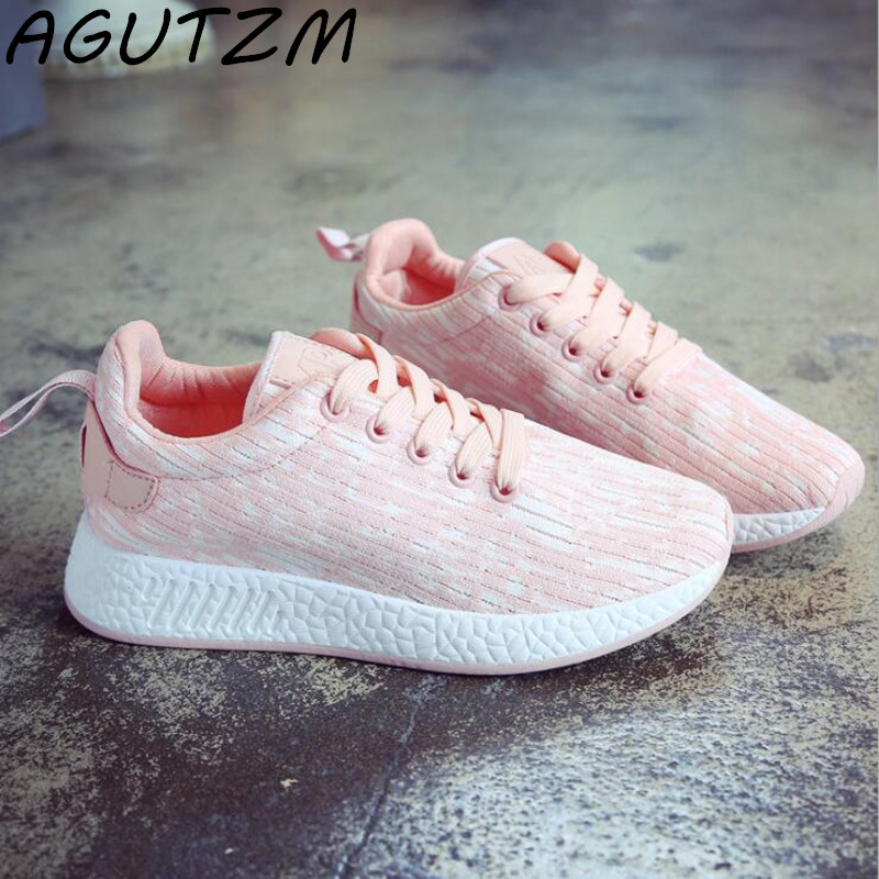 AGUTZM Fashion Trainers Sneakers Women Lace Up Casual Shoes Air Mesh Grils Basket Femme Wedges Ladies Canvas Shoes glowing sneakers usb charging shoes lights up colorful led kids luminous sneakers glowing sneakers black led shoes for boys