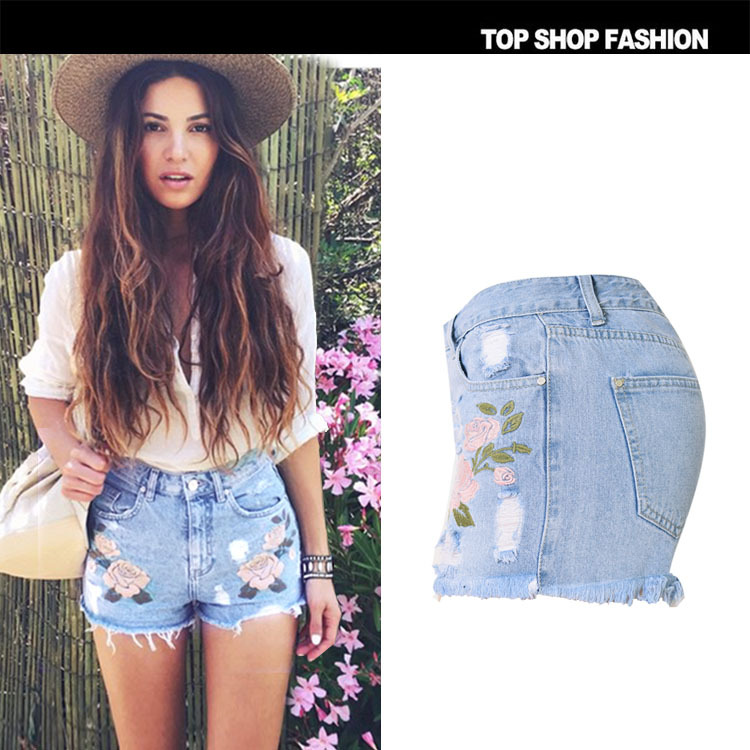 3fb28b2f97a2 Thy Summer Style Casual Women Straight Denim Shorts Floral Embroidery High  Waist Short Jeans