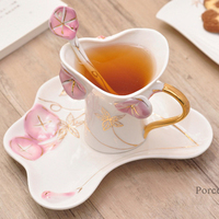 2017 Morning Glory Pattern Coffee Tea Mug Cup Set With Spoon Tray Heat Resistant Couple Cups