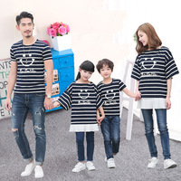 Summer Family Matching T Shirt Smiling Face Short Sleeves Matching Clothes Cotton Family Look Mom Daughter
