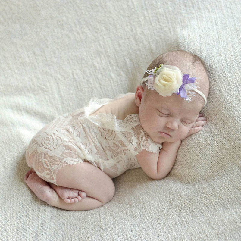 White Lace Romper Baby Girl Newborn Photography Props ...