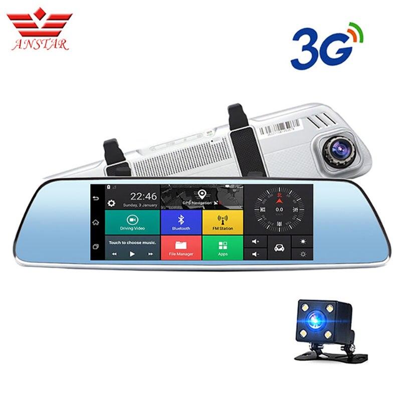 ANSTAR 7 pouce 3g Voiture Dvr Caméra GPS Navigator Android Rétroviseur Full HD 1080 p Enregistreur Vidéo Bluetooth double Objectif Dashcam