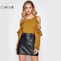 COLROVIE Ruffle Sweet Yellow Blouse Open Shoulder Women Sexy Long Sleeve Tunic Tops Fall 2017 Fashion
