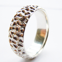 Tailor Made 7mm Matte Honeycomb Sterling Silver Dome Cluster Ring US Size 4 16 (#R019)