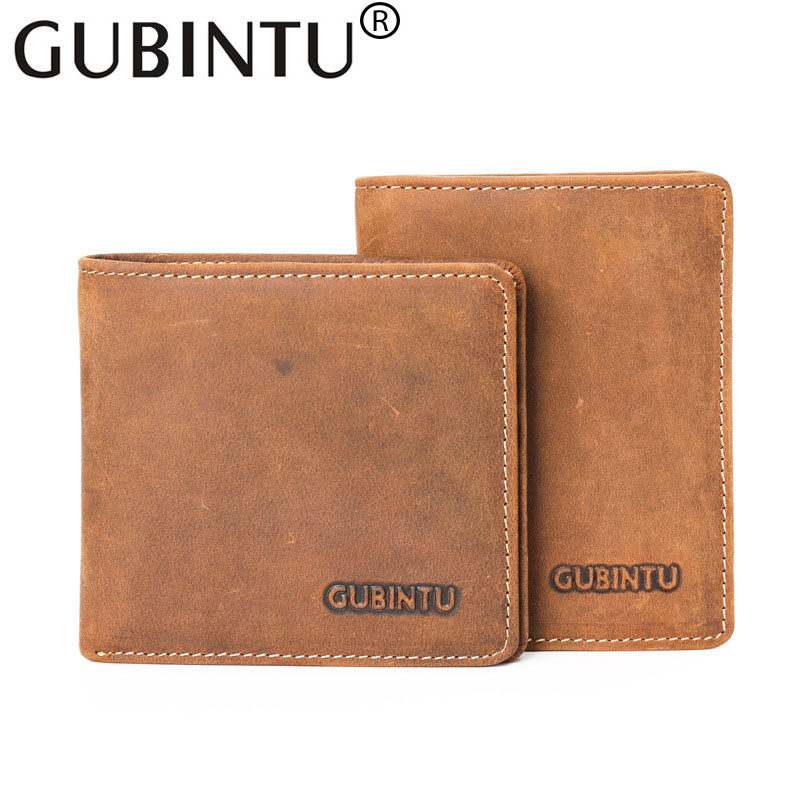 Vintage Fashion Brand Cow Leather Mens Wallet Clutch Portfolio Male Purse Crazy Horse Credit Card Holder Money Small Billetera