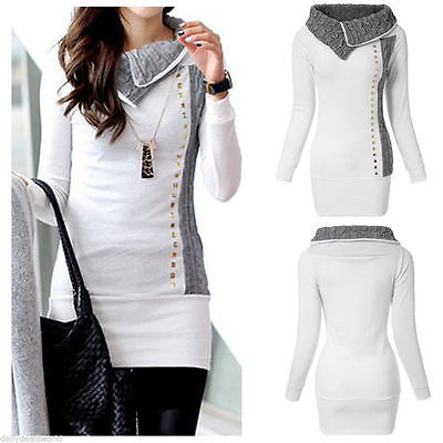 Jacket Sweater Coat Pullover Jumper-Tops Hooded Long-Sleeve High-Collar White Hot-Sale title=