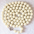 Natural freshwater cultured white pearl 8-9mm round loose beads diy long elegant fashion women rope chains necklaces 36inch B669
