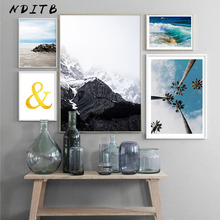 Scandinavian Mountain Sea Landscape Canvas Wall Art Poster Nordic Nature Print Painting Decorative Picture Tropical Decoration