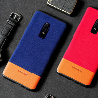 wangcangli luxury materials suede and cowhide stitching phone case for Oneplus 6 all inclusive phone protection case