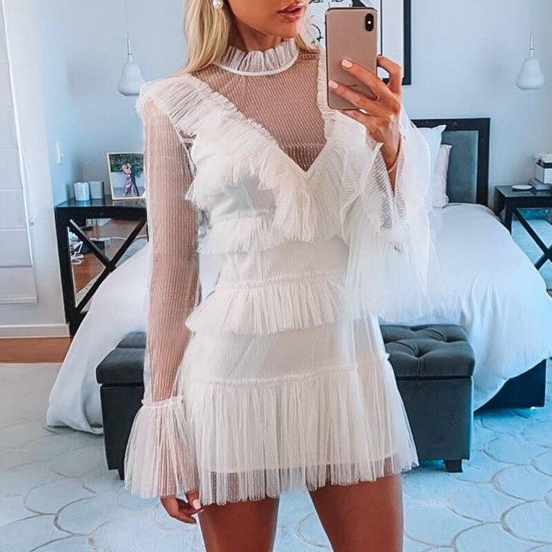Vintage sexy maille à pois femmes robe blanche d'été à manches longues moulante courte mini robe élégante célébrité robe de soirée