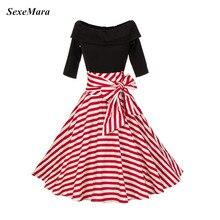 SexeMara новые Slash шеи бантом 1950 S Full Circle Винтаж рокабилли хлопок рокабилли Pin Up платье вечерние платье