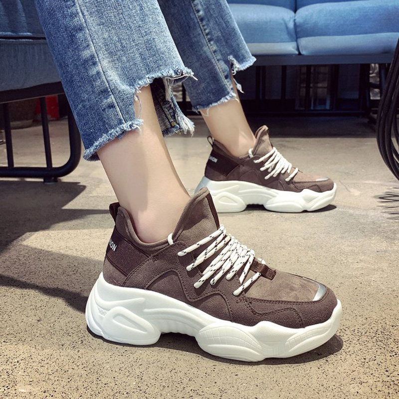 Women's Chunky Sneakers 2019 Spring Fashion Skate Women Platform Shoes Lace Up Woman Trainers Vulcanized Old Dad Shoes New S