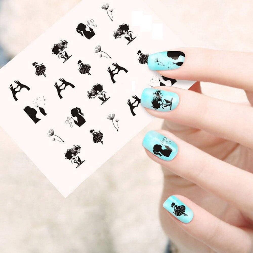 Free Shipping Pretty Designs Nail Sticker 1 Sheet Black Color ...