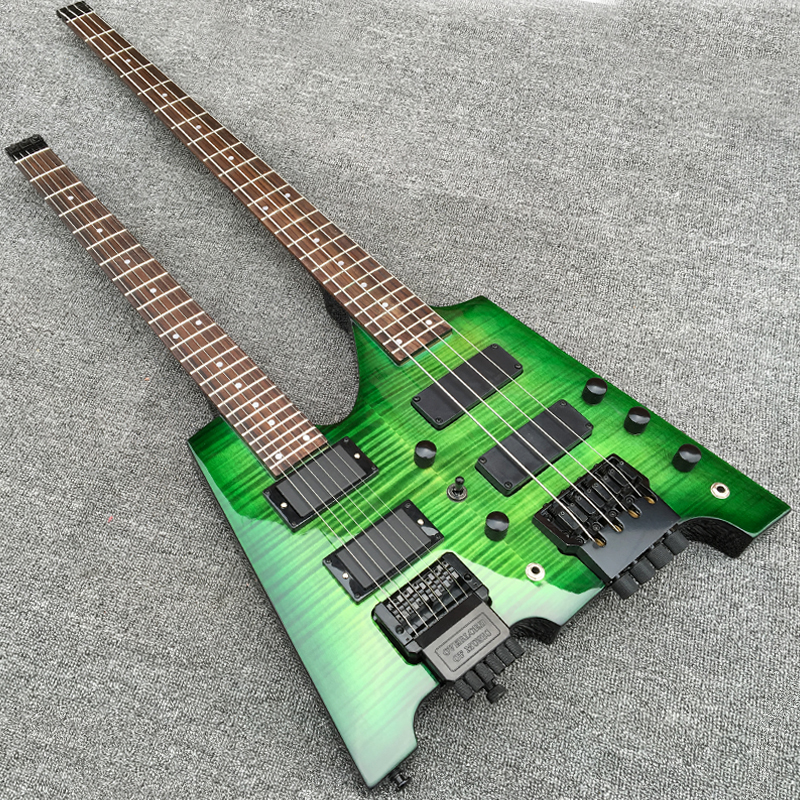 Double necks Headless Electric guitar with Flamed Maple top, 6 string Guitar + 4 string Bass Combo, Gem Green color,24F Guitarra Стол