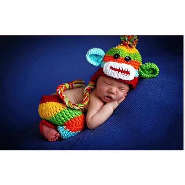 85d4ebceaca Handmade Crochet Knitted Newborn Photography Props Colorful Monkey style Crochet  Baby Hat and Pants 0 - 6 M GM068