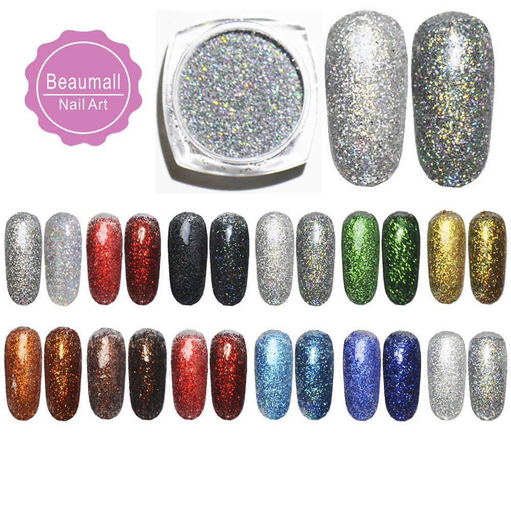 2g/pot, 0.2mm (1/128 008) Holographic Acrylic Laser Glitters Powder Dusts Chrome Pigments For Nail ,Tattoo Art Decorations