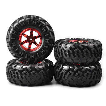 4Pcs/Set Rubber 1:10 Bigfoot Truck Tires&Wheel Bigfoot Monster 130mm RC 01R For Climbing Crawler Car Accessory