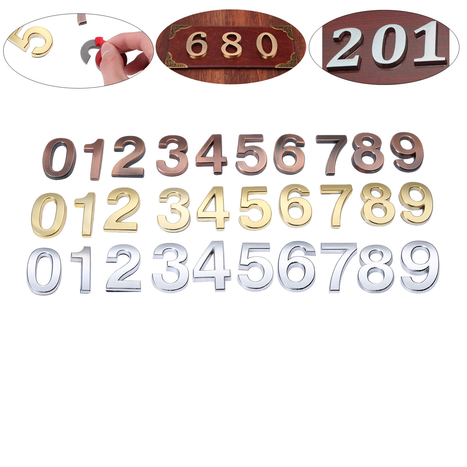 50mm ABS Plastic Gold Self-Adhesive 0-9 Curved Door Numbers Customized House Address Sign