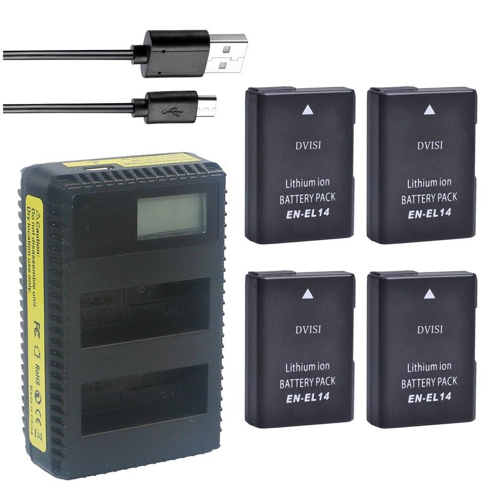 4pc EN-EL14 EN EL14 EL14a Battery + LCD Charger for Nikon P7800,P7700,P7100,D3400,D5500,D5300,D5200,D3200,D3300,D5100,D3100 etc dste en el14 1600mah lithium full decoded battery for nikon d5100 d3200 d3100 d5300 more
