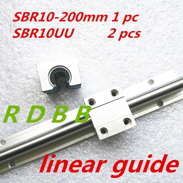 SBR10 200mm carril lineal 10mm de diámetro lineal ronda guía carriles con 2 unids de SBR10UU