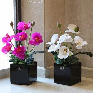 Искусственная искусственная бабочка Орхидея набор бонсай в горшке домашний Декор керамическая ваза горшечные растения цветы Свадебные ук...