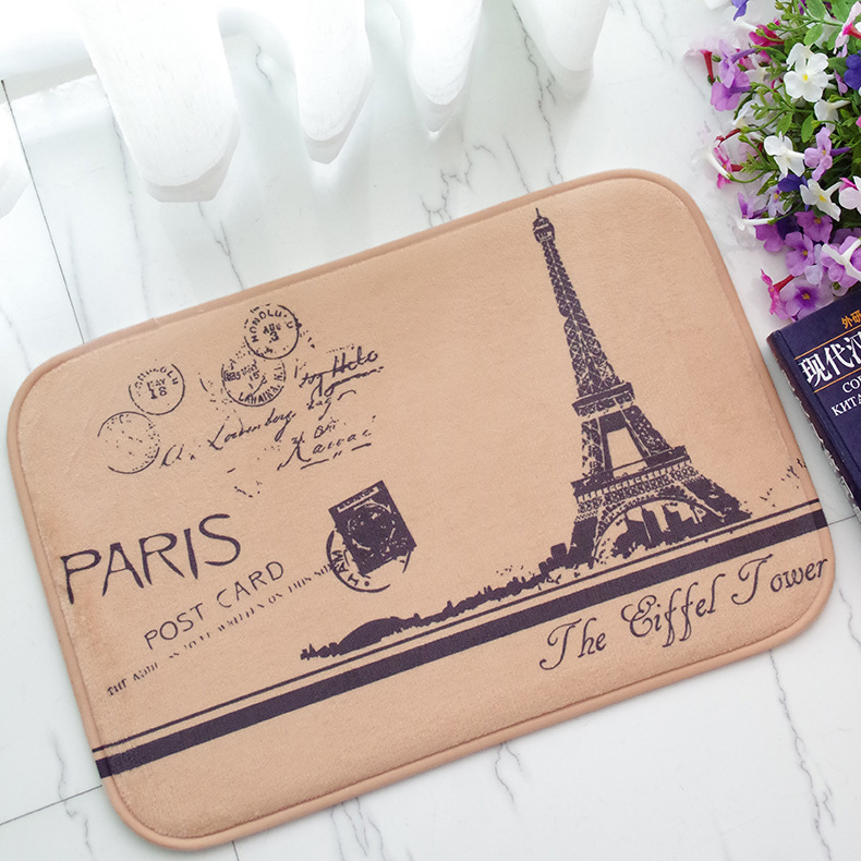Eiffel Tower Anti-Slip Door mat Doormat Home Room Decor Carpet Vintage Rug 40x60cm 50x80cm 40x100cm Soft Plush Retro Floor Mat