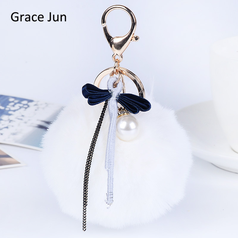 Hot Sale Pom Pom Bowknot Smulated Pearl Fluffy Faux Rabbit Fur Keychains for Women Car Handbag Key Bag Pendant Christmas Gift