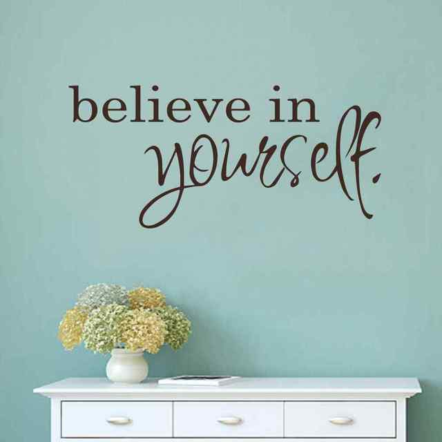 Believe In Yourself   Inspirational Wall Decals   Girls Room Wall Decals  Quotes   Mirror Decals