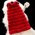 90cm Long Full Pelt Fox Fur Vest Women Real Fur Coat Natural Mink Coats New Fashion Winter Luxury Stripe Sleeveless Vests Hot