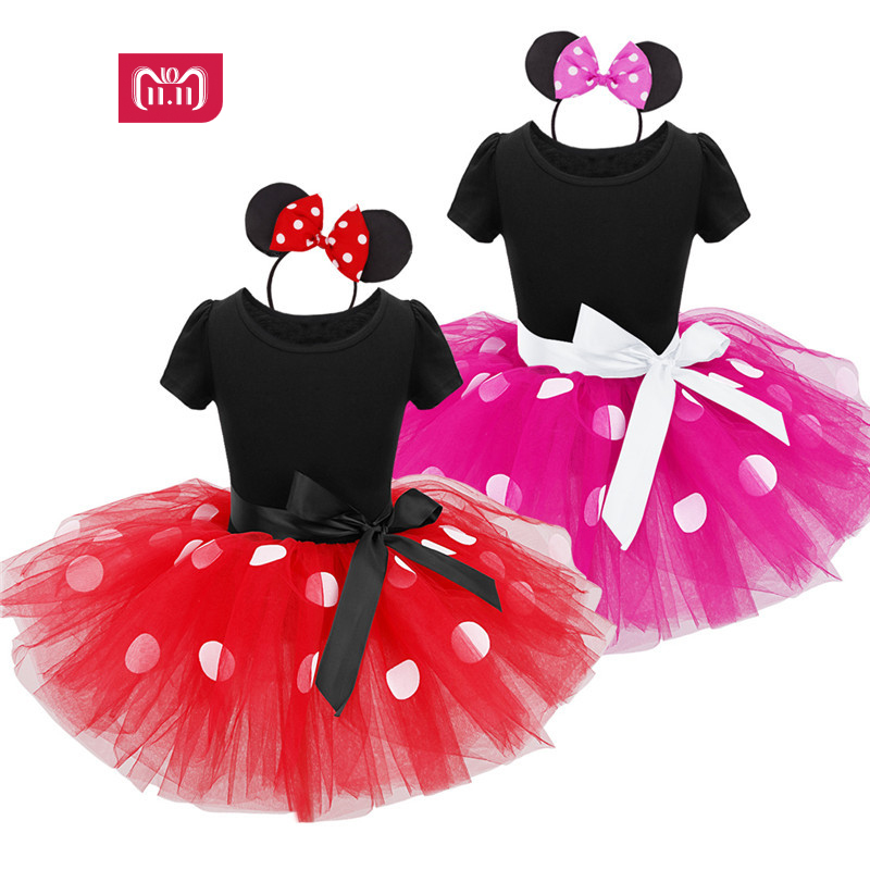 2017 sommer Neue kinder kleid minnie maus prinzessin party kostüm infant kleidung Polka dot baby kleidung geburtstag mädchen tutu dresse