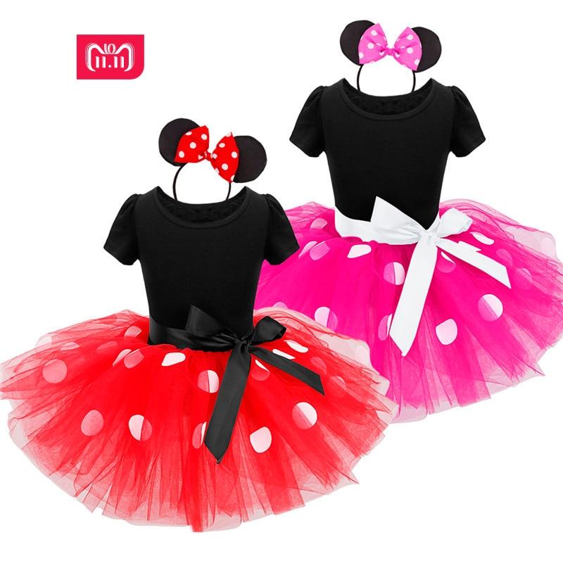 2017 verano nuevo vestido de niños minnie mouse princesa traje de fiesta ropa infantil Polka dot ropa de bebé cumpleaños niñas tutú vestido