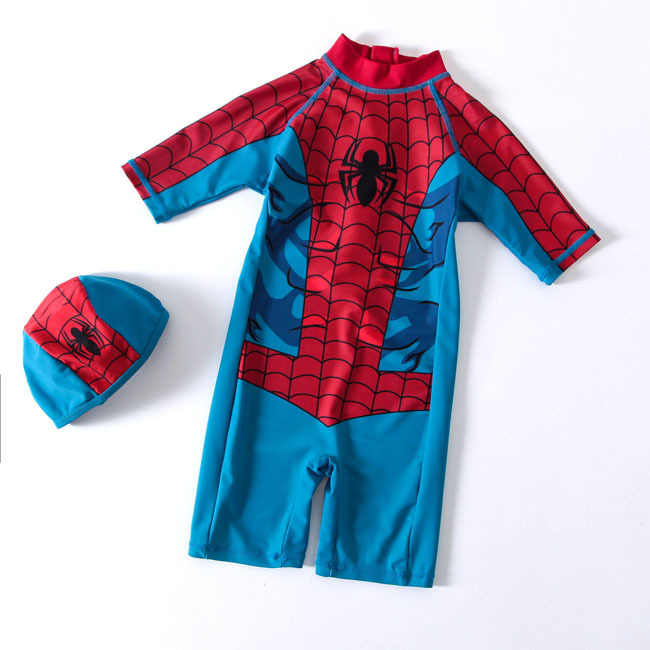 e758a104c3350 Cartoon Baby Swimwear Infantile Swimming Diapers Reusable Surfing Newborn Baby  Swimsuit Spiderman