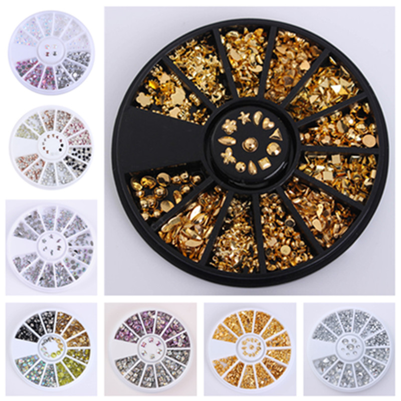 Jelly Color Rhinestones Flat Bottom Metal Studs Laser Rivet Beads Decor Manicure Nail Art Decoration in Wheel 1 box rivet laser 3d nail decoration 4mm square nail studs manicure nail art decoration wheel