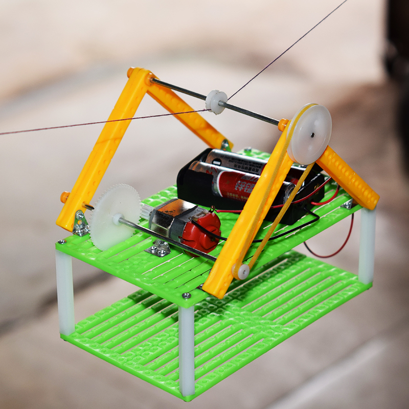 Electric Sightseeing Cable Car Model/climb Rope Walking Basket/scientific Physics Experimental Educational Toys/DIY Parts Toys
