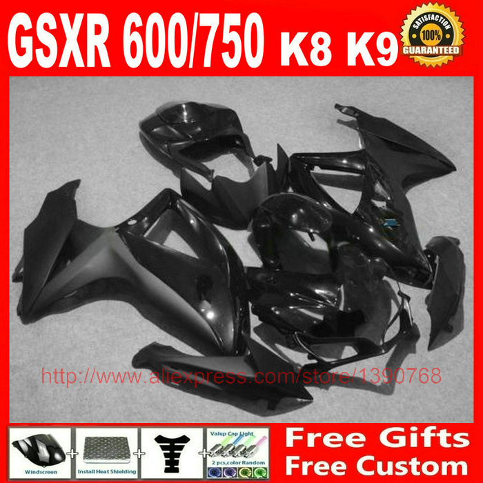 Fairing kit for <font><b>SUZUKI</b></font> <font><b>GSX</b></font>-R600 <font><b>GSX</b></font>-R750 <font><b>2008</b></font> 2009 2010 all black bodywork fairings set K8 08 09 10 <font><b>GSX</b></font> R <font><b>600</b></font> 750 BM58 image